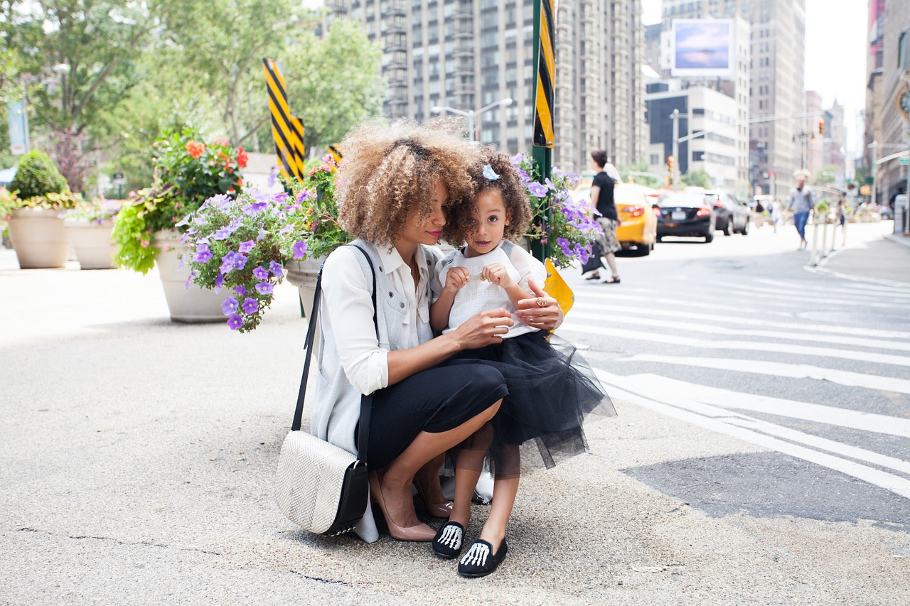 family, fashion, tutu, pumps, purse, flowers, city, hair, afro, curly hair, loafers, beauty, woman, girl, mom, mother