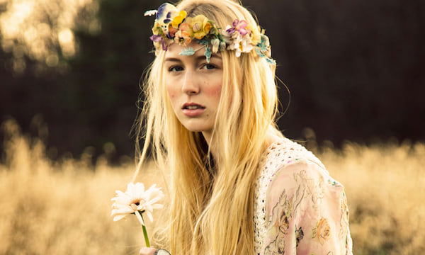 hippie, flower, girl, woman