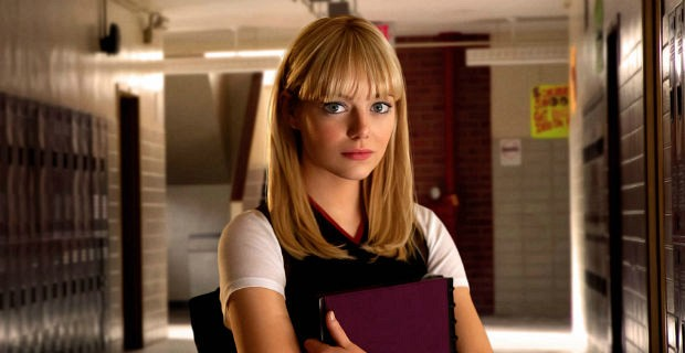 Emma Stone, spiderman, Mary Jane, books, college, movies/tv, school