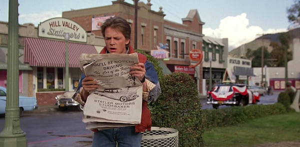 back to the future, reading newspaper, shocked, movies/tv