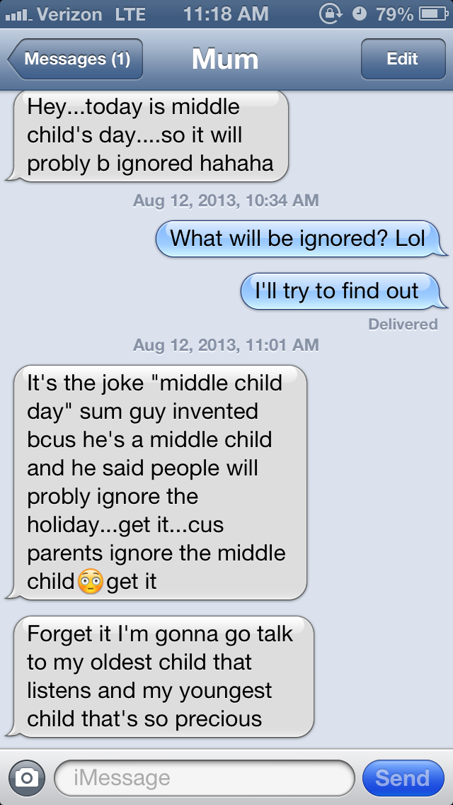 middle child, funny, family