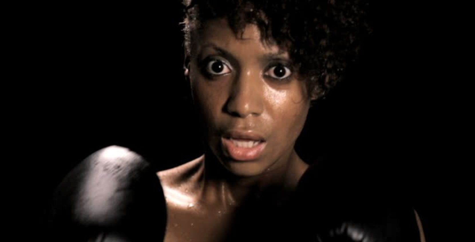 woman fighting, boxing, sweaty