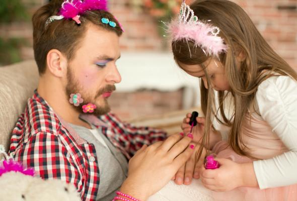 father, daughter, dress up, family