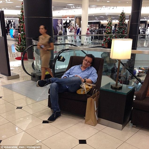 dad, shopping, bored, family