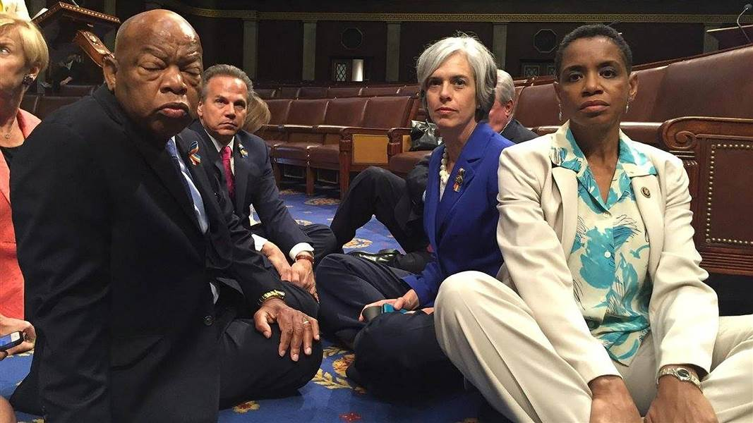 Democrats, sit-in, news, protest