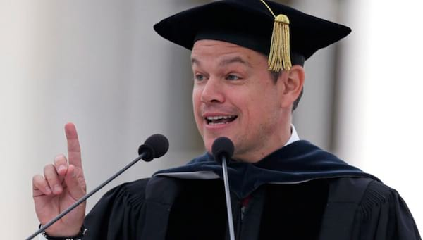 graduation speech, Matt Damon, harvard