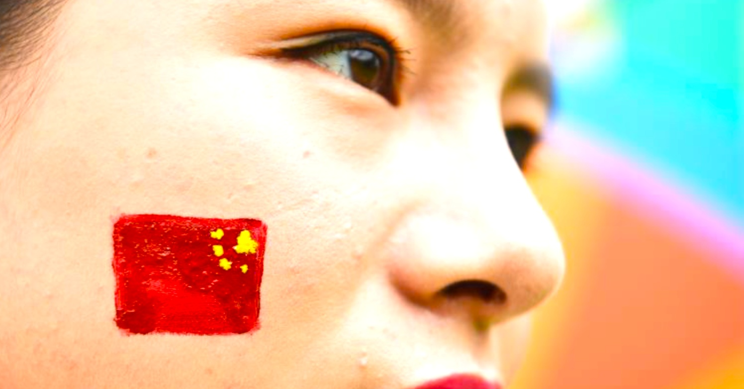 flag, face paint, face, woman, China
