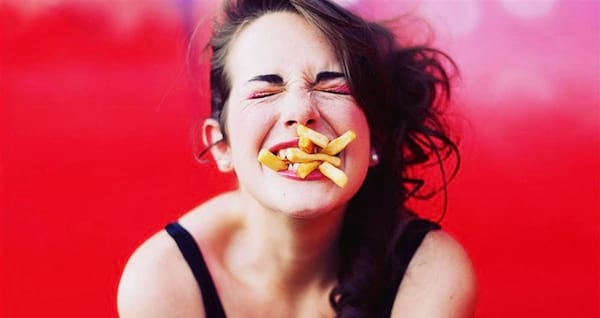 french fries, woman, eat, eating, fries