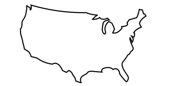 United States, map, outline