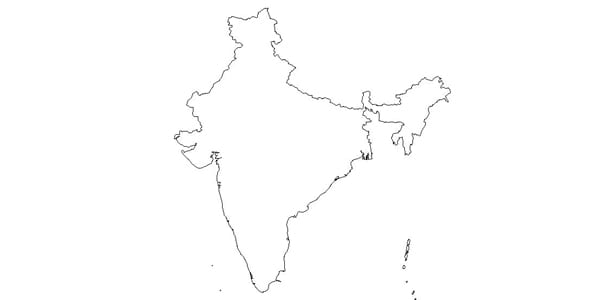 india, map, country, outline