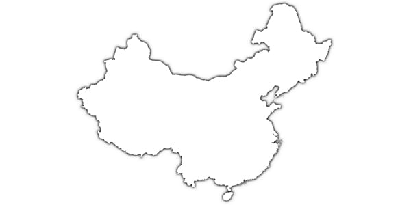 China, country, outline, map