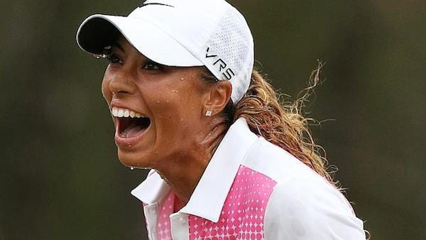 women golfers, cheyenne woods, golfer, golf, woman yelling