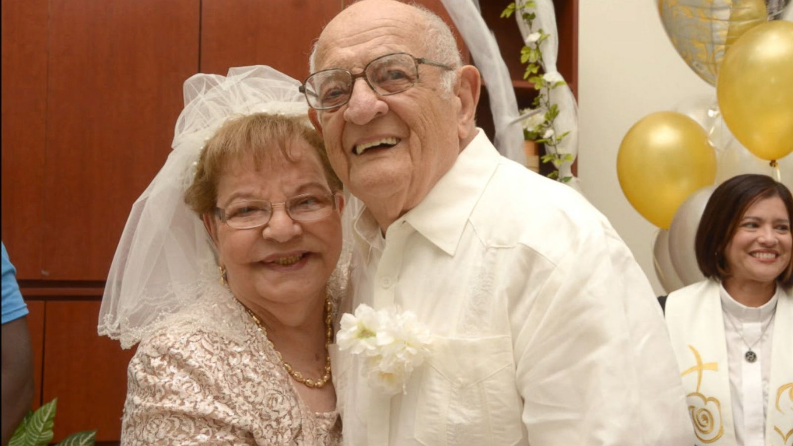 eldery couple, 80 year old bride