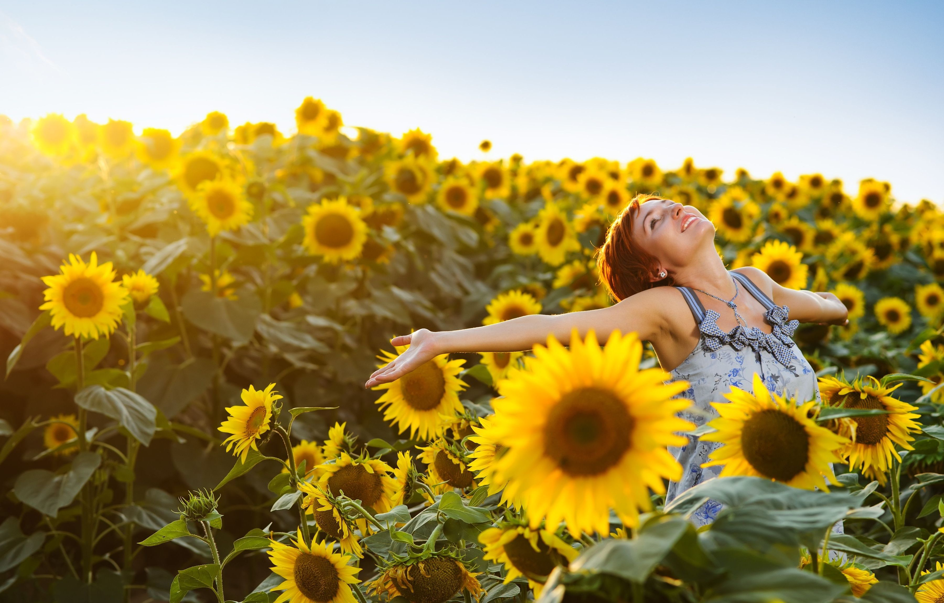virgo, flowers, sunflowers, woman hapy, beauty, health, relationships