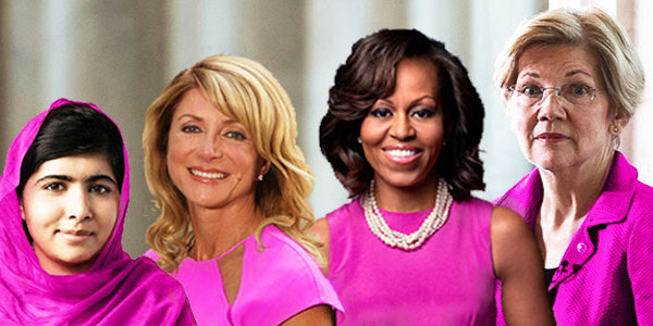 Elizabeth Warren, Malala, wendy davis, michelle obama, women, feminism, pink, politics