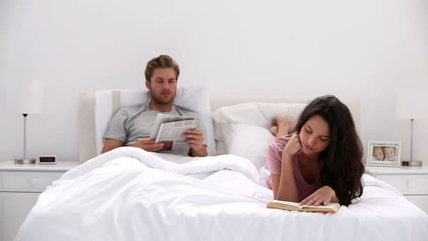 couple, reading, bed, love