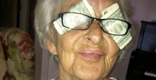 funny, grandma, eyes, money