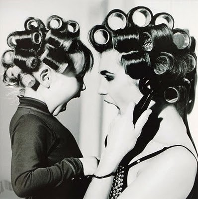 mother, daughter, curlers, beauty, family, fashion