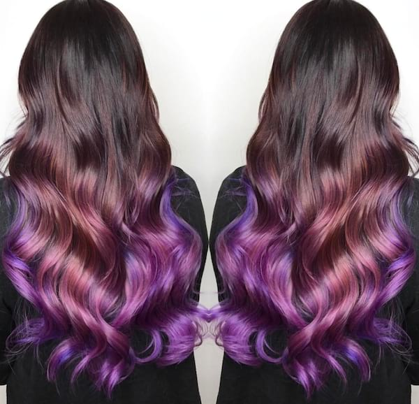 holographic hair, violet hair, beauty