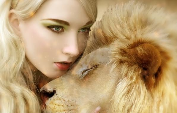 animal, lion, girl, photography