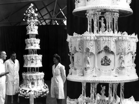 Queen Elizabeth and Prince Phillip's Wedding cake, Royal Weddings, British Royalty, 9 Ft. Tall Wedding Cake, celebs, culture, food & drinks