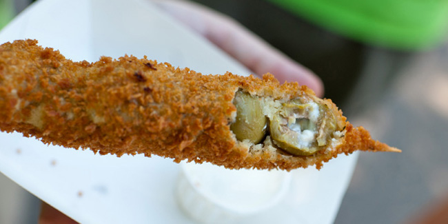 Deep-Fried Bacon Green Olives On-a-Stick, Wisconsin State Fair, Best food at Wisconsin State Fair, what to eat at Wisconsin State Fair, food & drinks