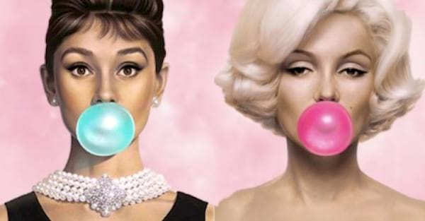 marilyn, audrey, bubblegum, ps, Clipping, photoshop, clipart, buzzfeed, bubble gum, history, fun, personality, decades