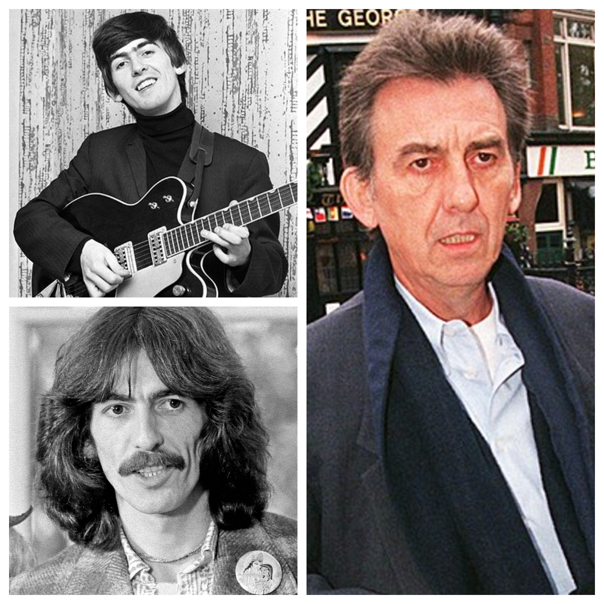 George Harrison, George Harrison Then and Now, the Beatles, The Beatles Young and Old, The Beatles Before and After, celebs, Music