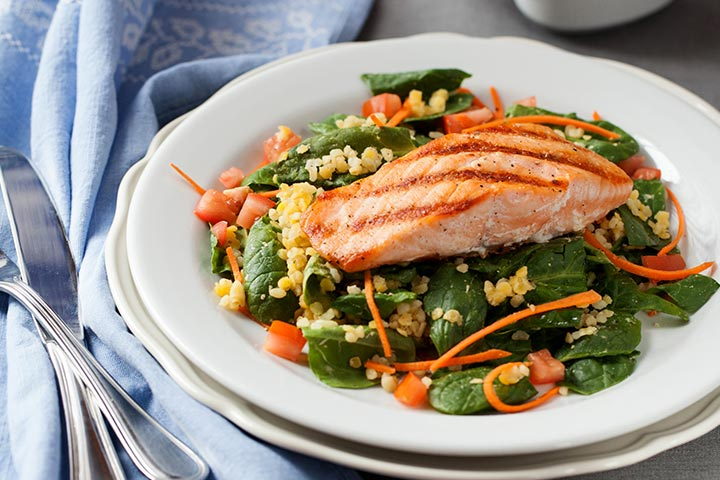Salmon, salad, lemons, lentils, lettuce, beauty, food & drinks, health
