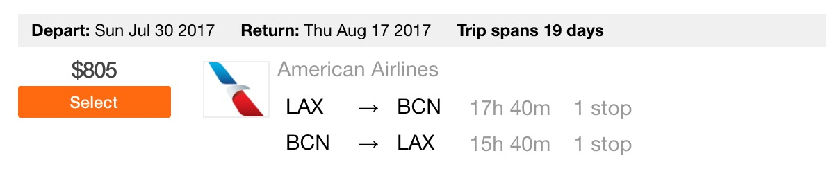 Fly LAX to Barcelona (BCN) cheap airfare