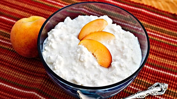 cottage cheese, peach, food & drinks