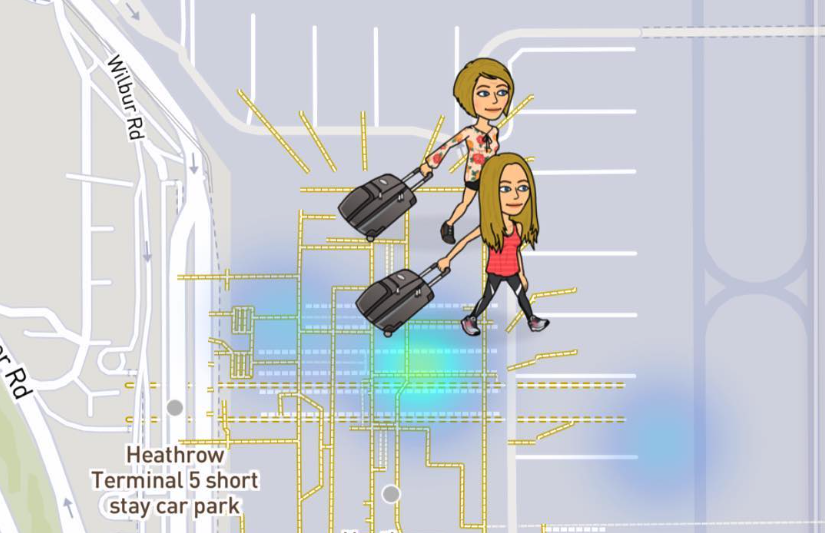 Snap Map Bitmoji At The Airport With Rolling Luggage, snap map, snapchat