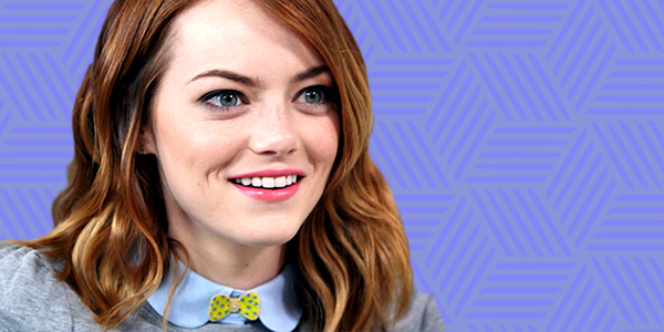 ps, ps Emma stone, purple, smiling, smile, surprised
