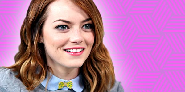 Emma Stone, ps, ps Emma stone, smile, smiling, surprised, purple