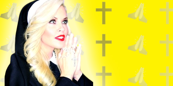 ps, ps Jenny McCarthy, Jenny McCarthy nun, nun, religion, pray, praying, cross, emoji, emojis