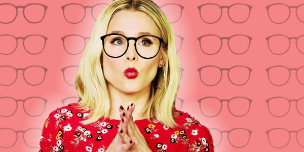 Kristen Bell, ps, ps kristen bell, glasses, smart, nerd, intelligent, surprised, unsure, trivia