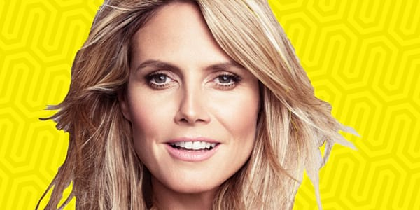 ps, ps heidi Klum, heidi klum, smile, happy, model, yellow
