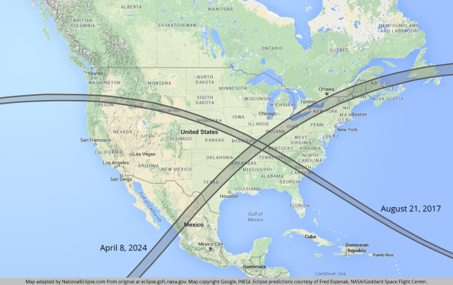 Path of Total Eclipse 2017 and 2024