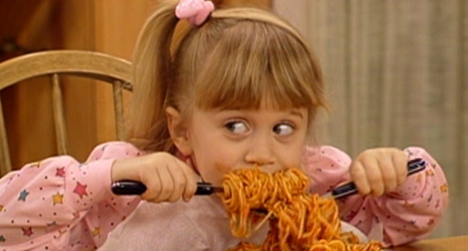 pasta, hungry, Michelle Tanner, full house, spaghetti, eating, food & drinks, movies/tv