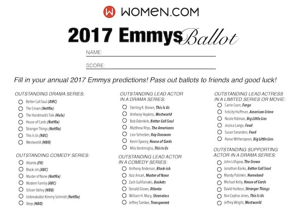 picture regarding Printable Ballot identify Emmys 2017 Printable Ballot -