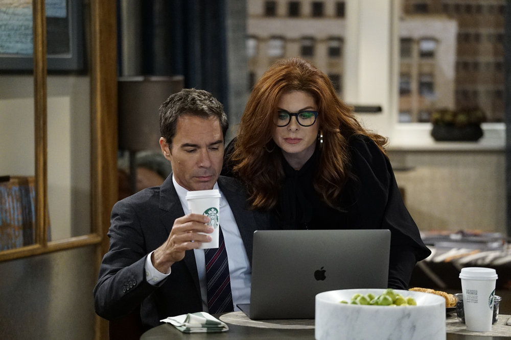 Will & Grace New Episode Photos From Season 9 Premiere 2017 Backstage Debra Messing Eric McCormack Scene Still
