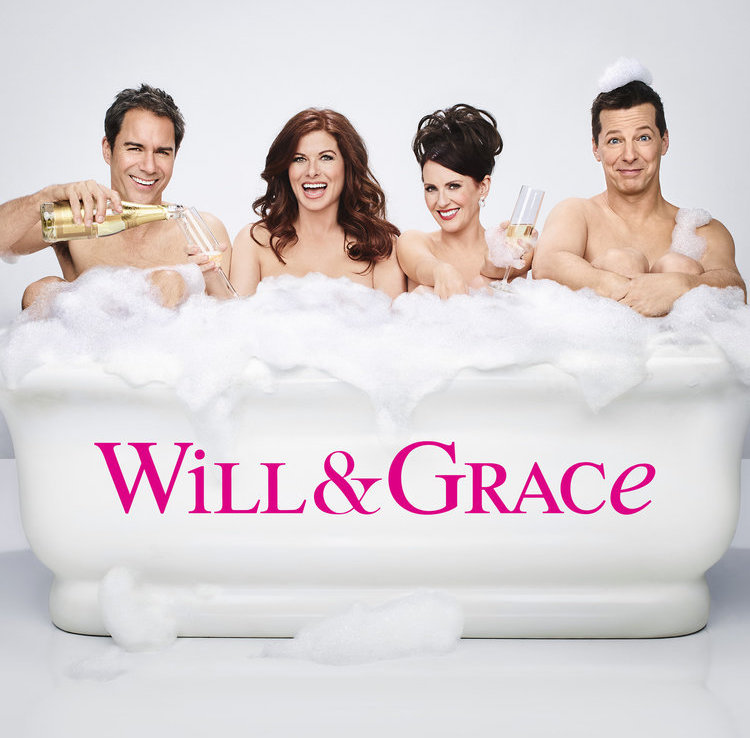 Will & Grace New Episode Photos From Season 9 Premiere 2017 Backstage Bathtub Debra Messing, Megan Mullally, Eric McCormack, Sean Hayes