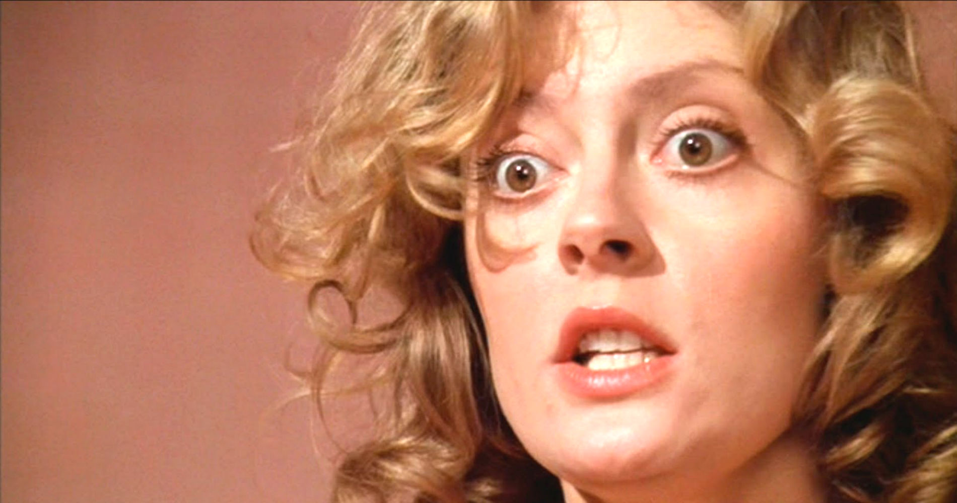 Susan Sarandon, rocky horror, scared, woman, blonde, face