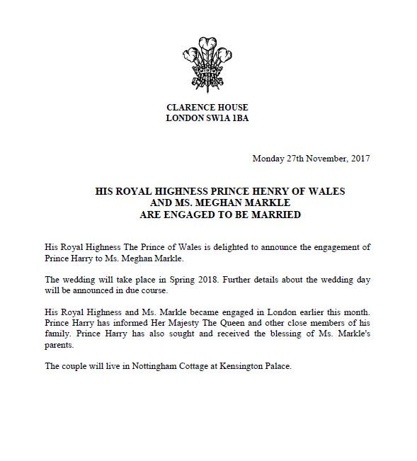 prince harry, meghan markle, wedding, engagement announcement, royal family