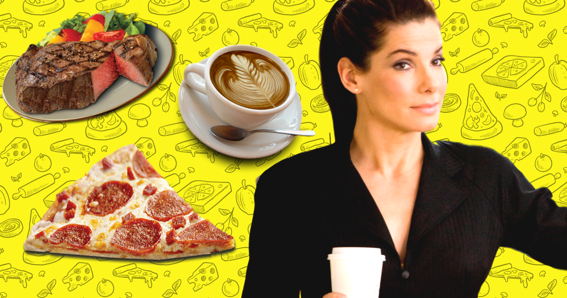food, sandra bullock, the proposal, pizza, coffee, steak, personality, hs