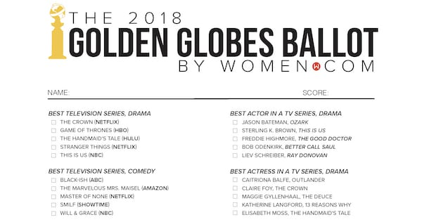 picture regarding Printable Ballot named No cost Golden Globes 2018 Printable Ballot Listing -