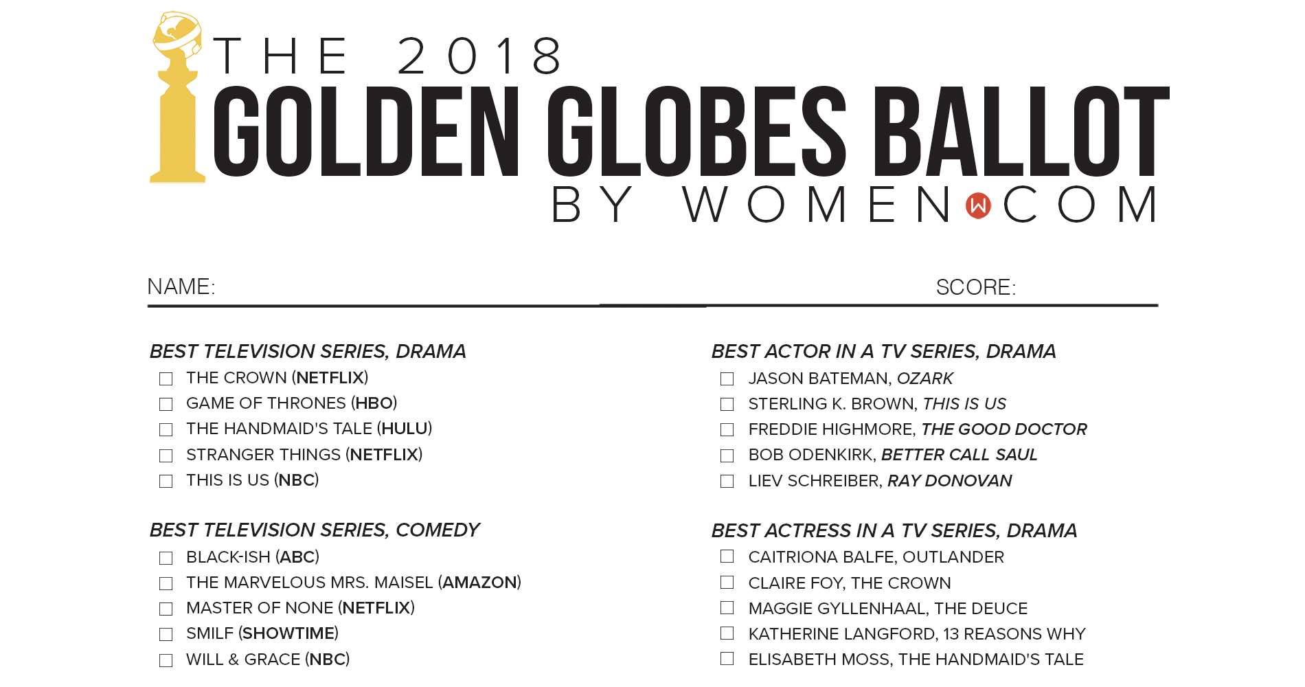 Golden Globes 2018 printable ballot, pdf, preview