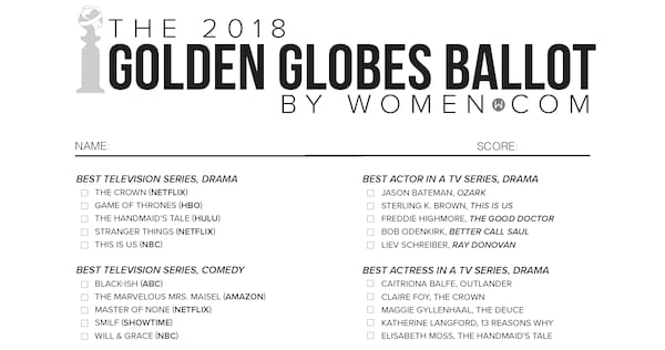 photo relating to Golden Globe Printable Ballots named Golden Globes 2018 Black And White Printable Ballot Record