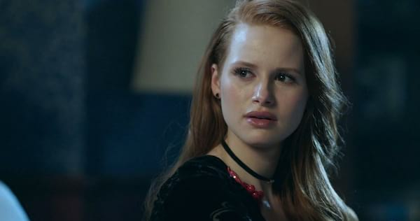 Cheryl Blossom looking worried. She is wearing a blacktop and red necklace., pop culture, movies/tv