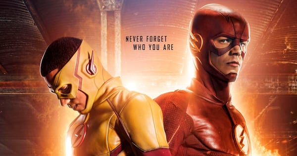 The Flash looking at the camera while Kid Flash looks at the ground., movies/tv, pop culture